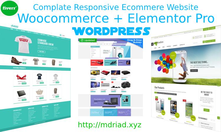 I will create ecommerce website with woocommerce use elementor pro