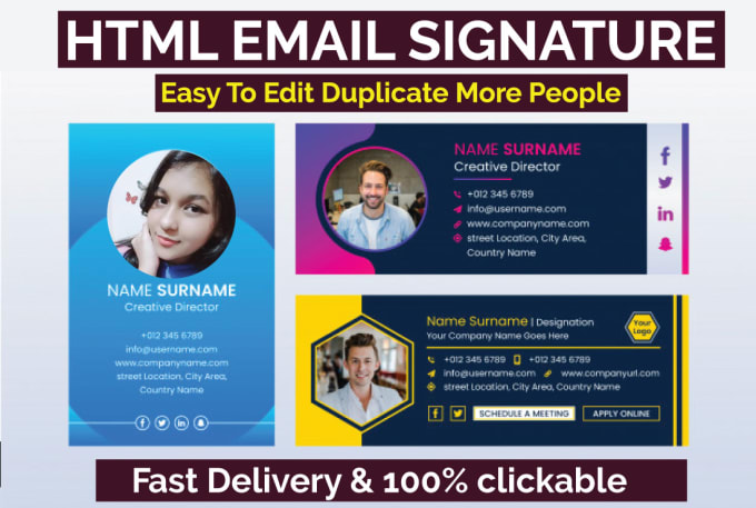 I will design clickable HTML email signature for iphone,  outlook and gmail