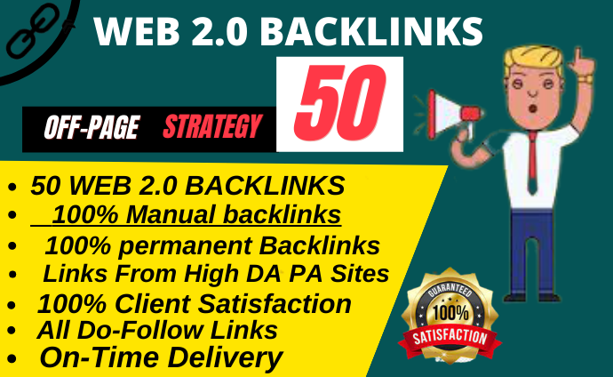 Rank on google 1st page with 50 High WEB 2.0 Backlinks manually