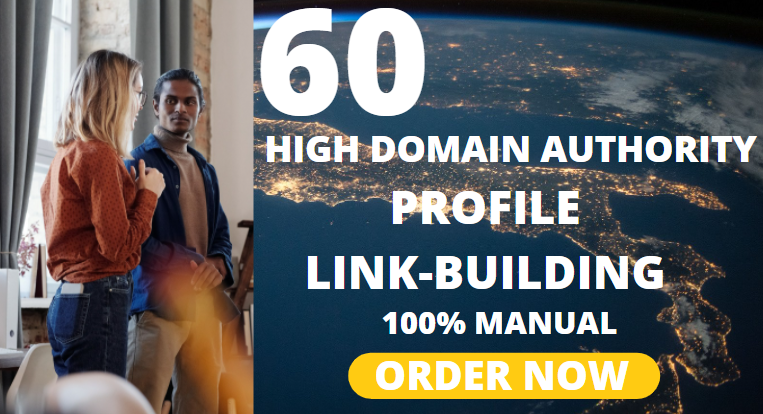 60 high domain authority profile link building backlink manually