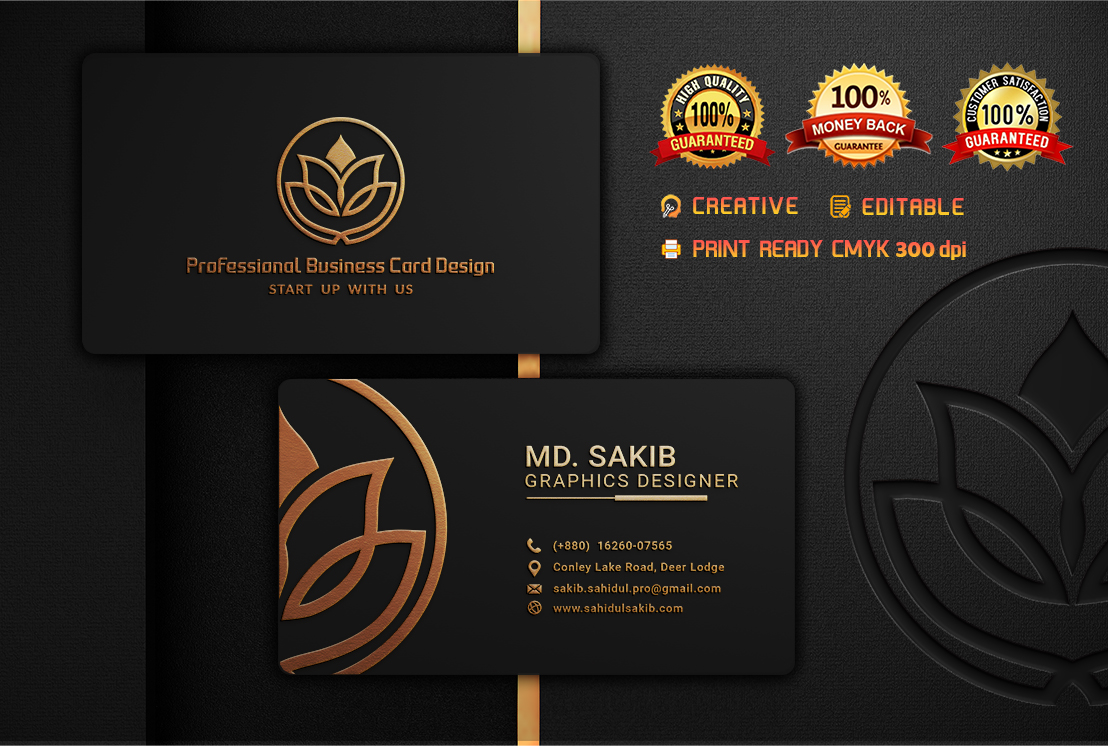 Get awesome double sided digital premium BUSINESS CARD DESIGN
