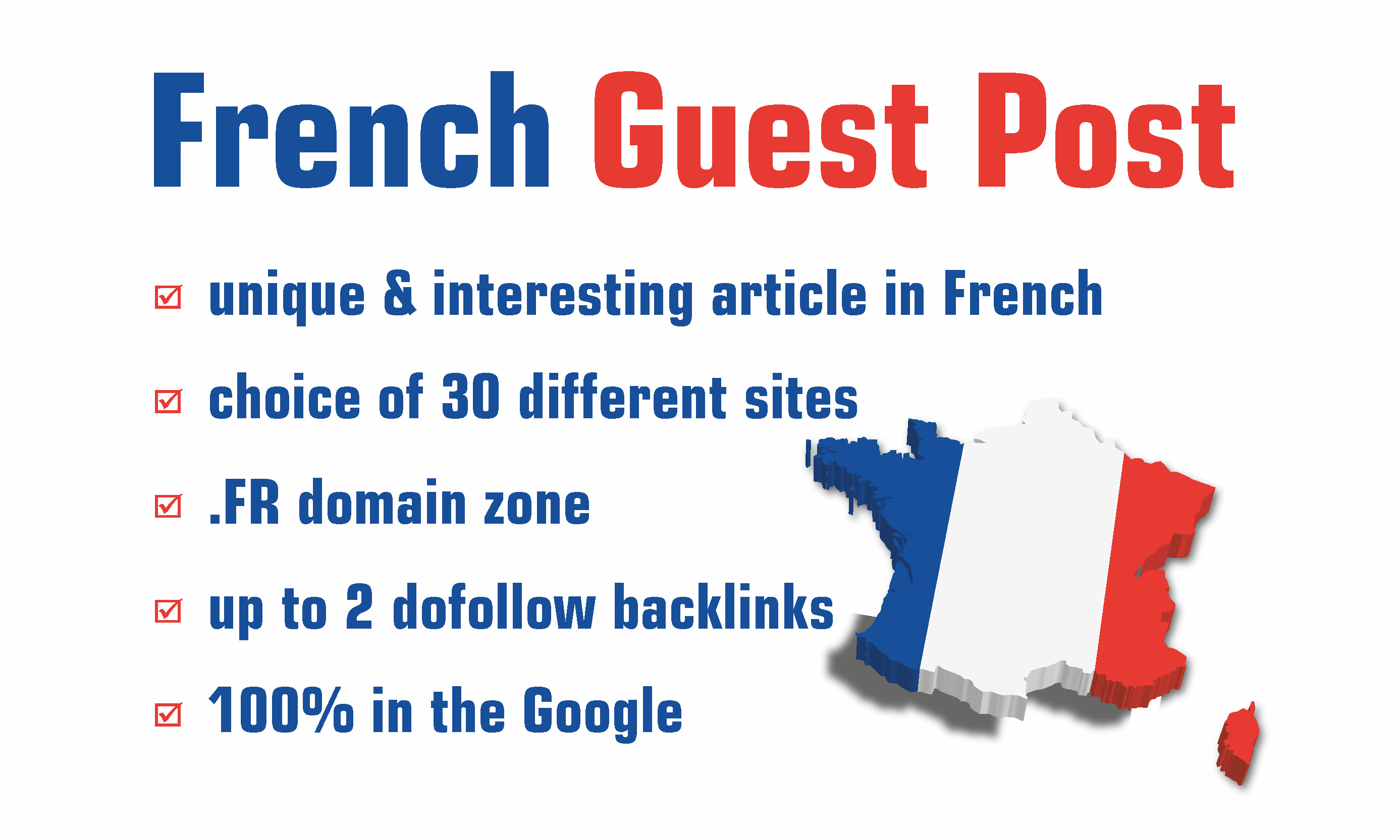 I will write and publish french guest post for france local SEO backlinks