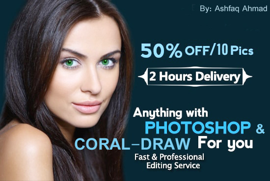 I will do photoshop editing,  retouching,  color correction,  logo in coral draw and text replacement