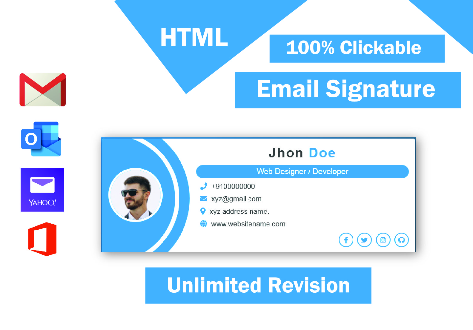 I will design email signature in HTML,  clickable email signature