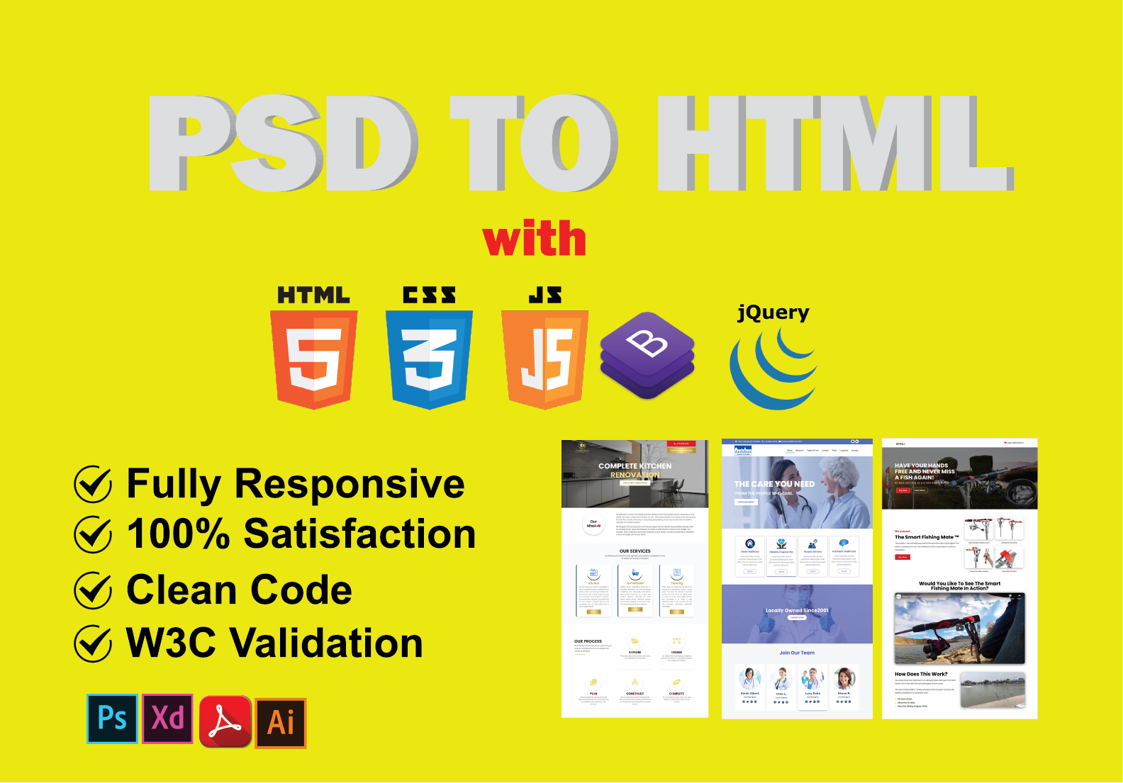 I will convert psd to html,  xd to html,  pdf to html, sketch to html