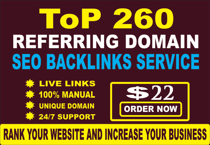 I will build 260 referring domain SEO backlinks for google ranking