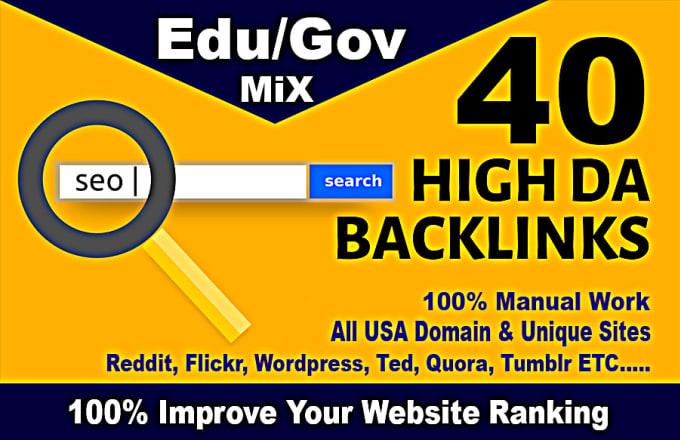 I will top 40 usa pr9, edu dofollow seo backlinks service link building