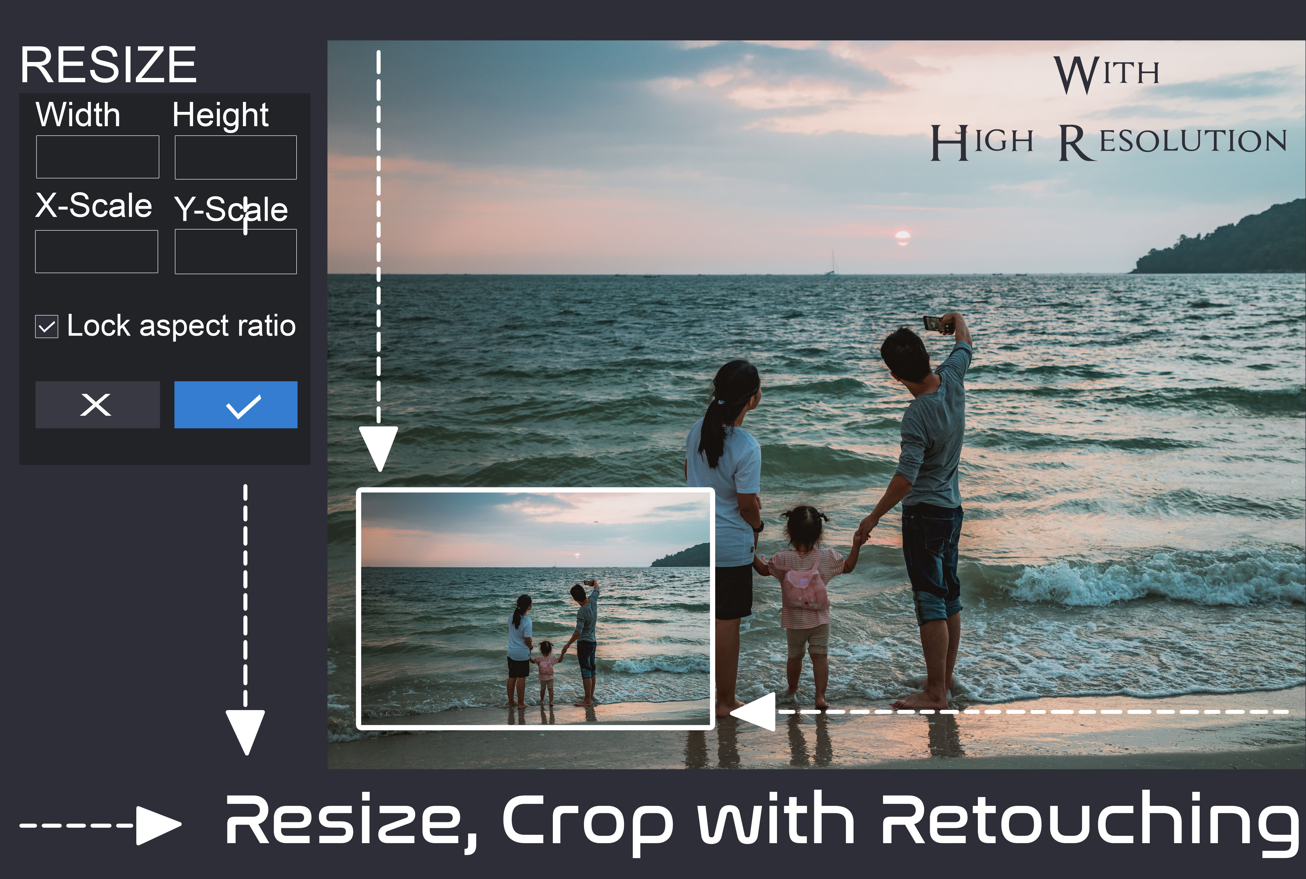 You will get picture resizing,  cropping and rotation service