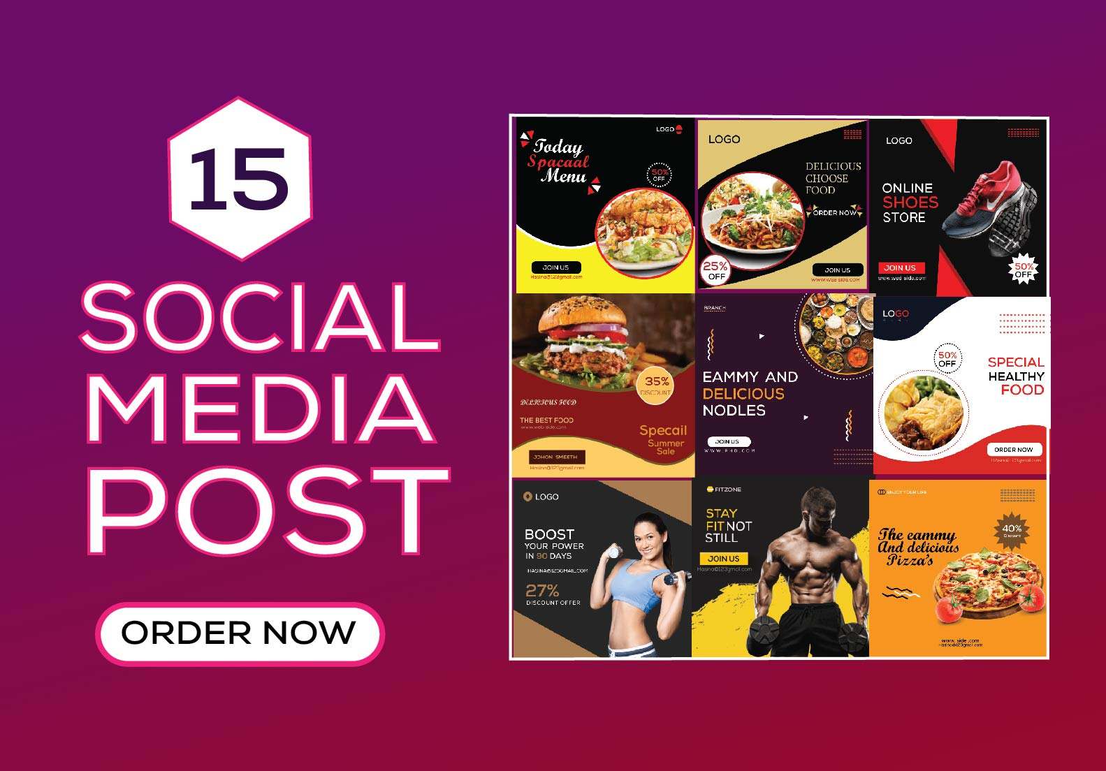 I will Design Attractive 10 Social Media Post,  Instagram story,  And Facebook cover Design
