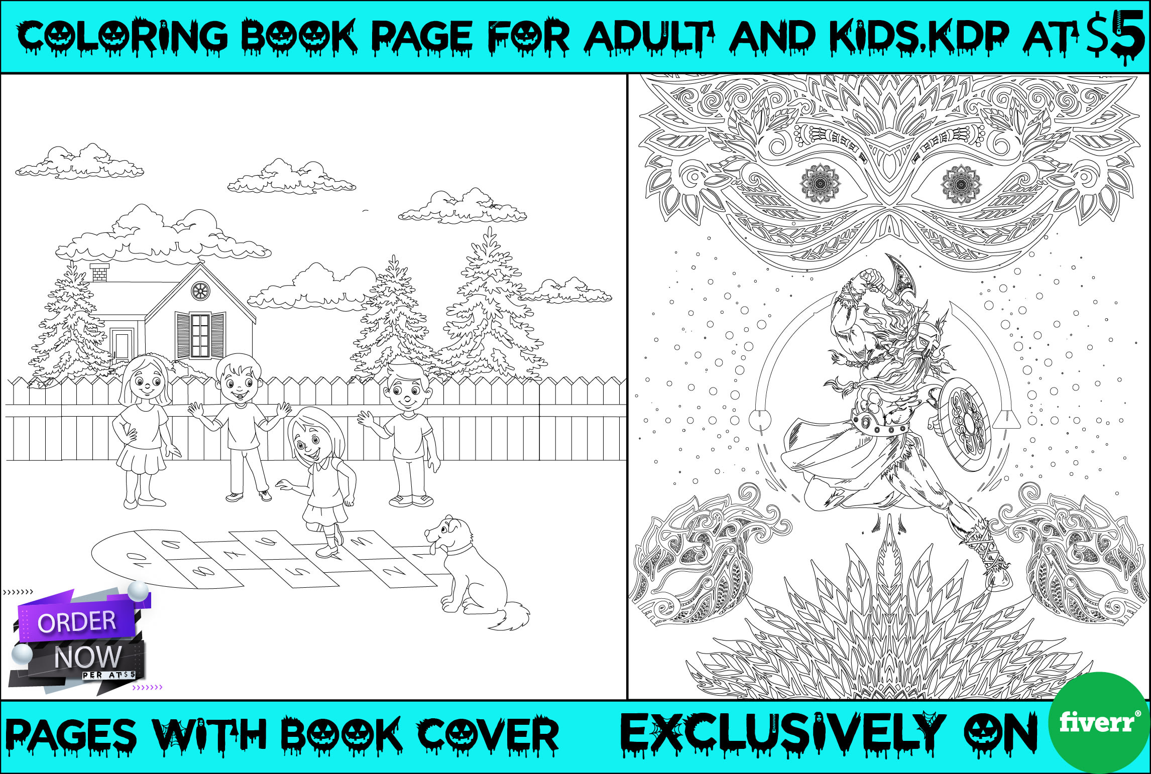 I will do coloring book page for children and adult