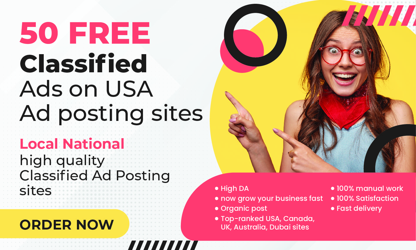 I will be post 50 free classified ads on USA ad posting sites