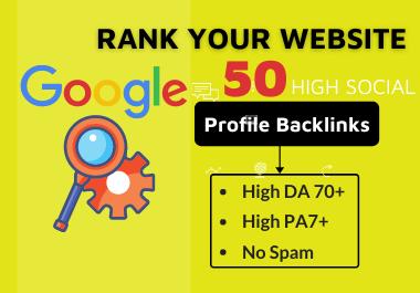 50 HQ Profile Backlink Manually Create