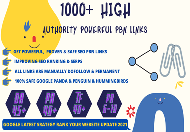 Permanent 1000+ PBN Backlinks Web2.0 With High DA45+PA40+PR6+ Links Homepage Unique website