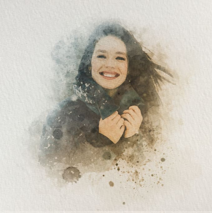 I will do watercolor portrait painting