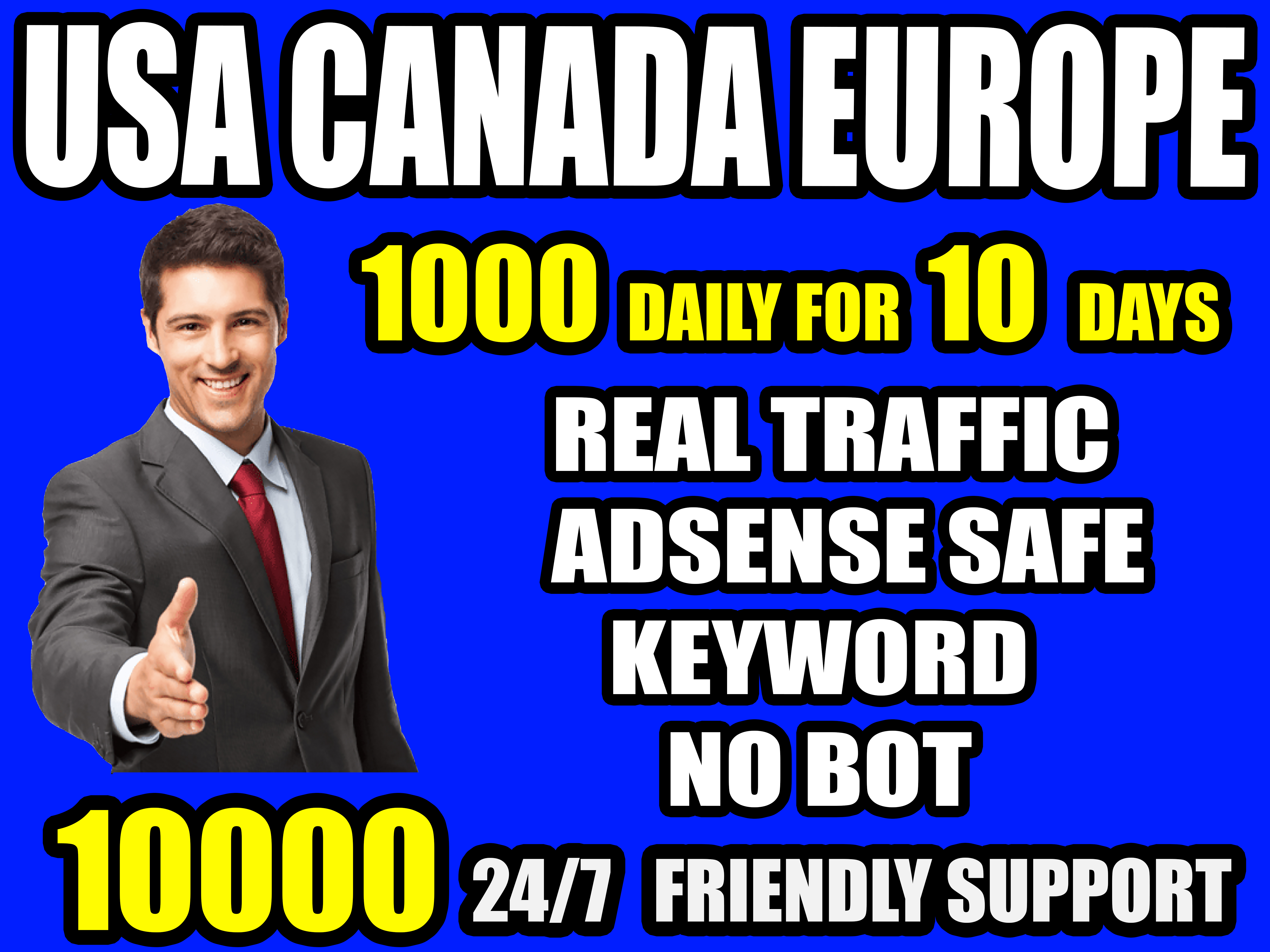 I will drive real quality organic traffic from USA, Canada, Europe