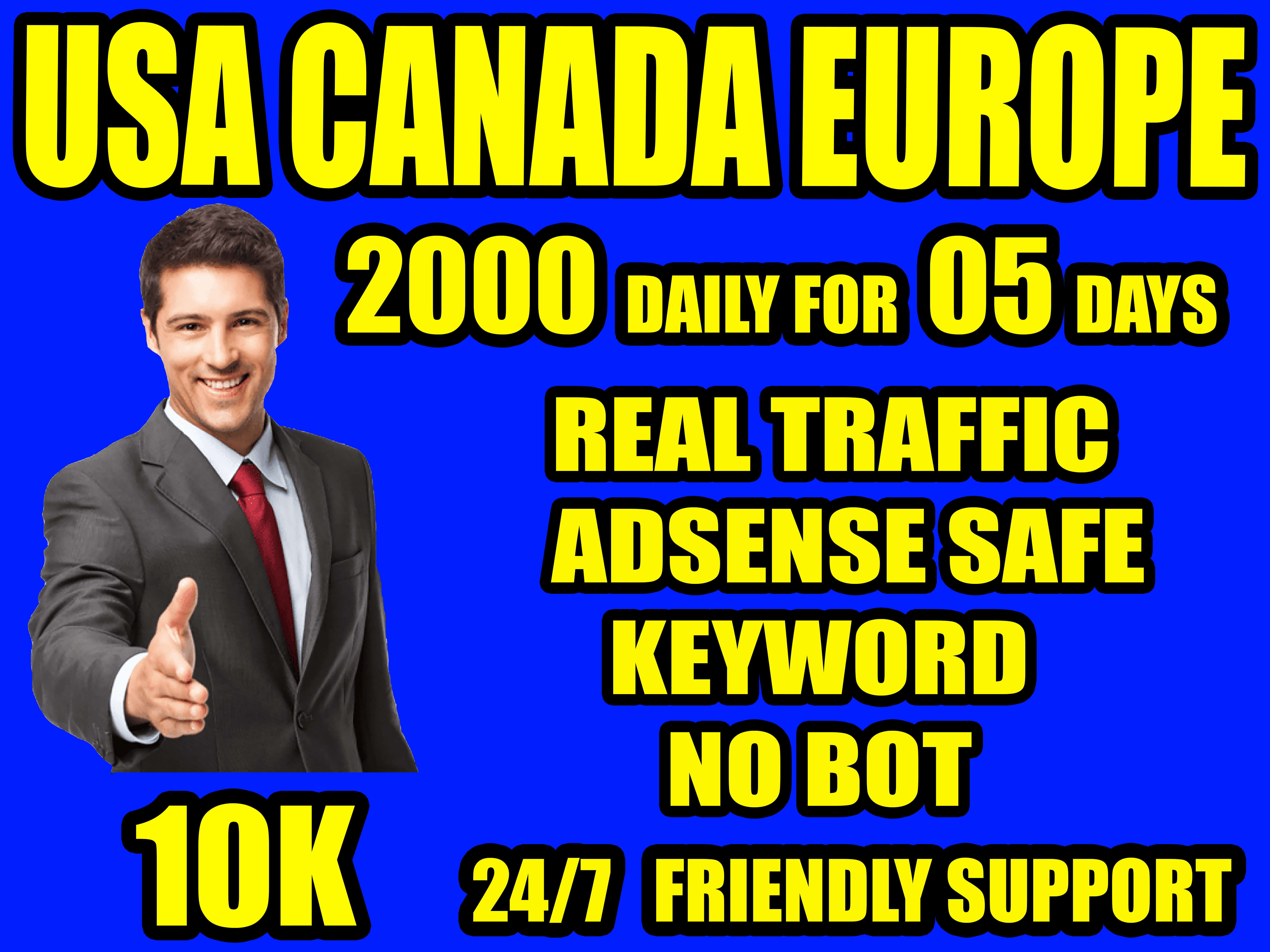 I will send organic real traffic from USA,  Canada,  Europe