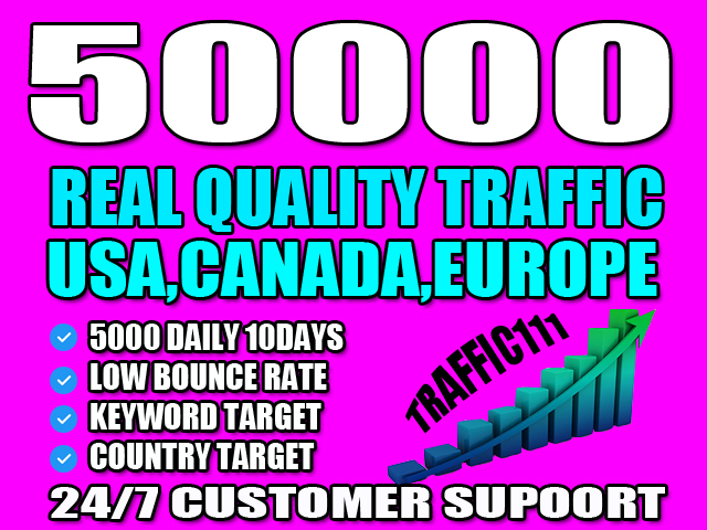 I will send organic real traffic with low bounce rate