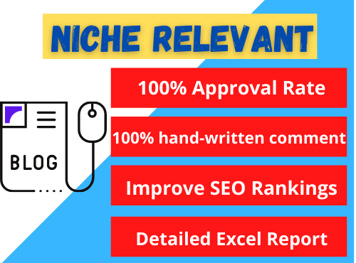 Manually do 50 Niche Relevant SEO Blog Comment Backlinks service