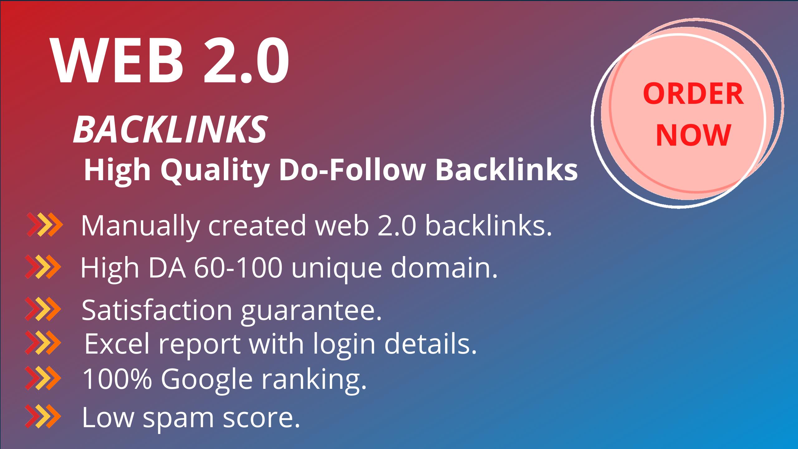Create do-follow 50 high authority web 2.0 backlinks manually