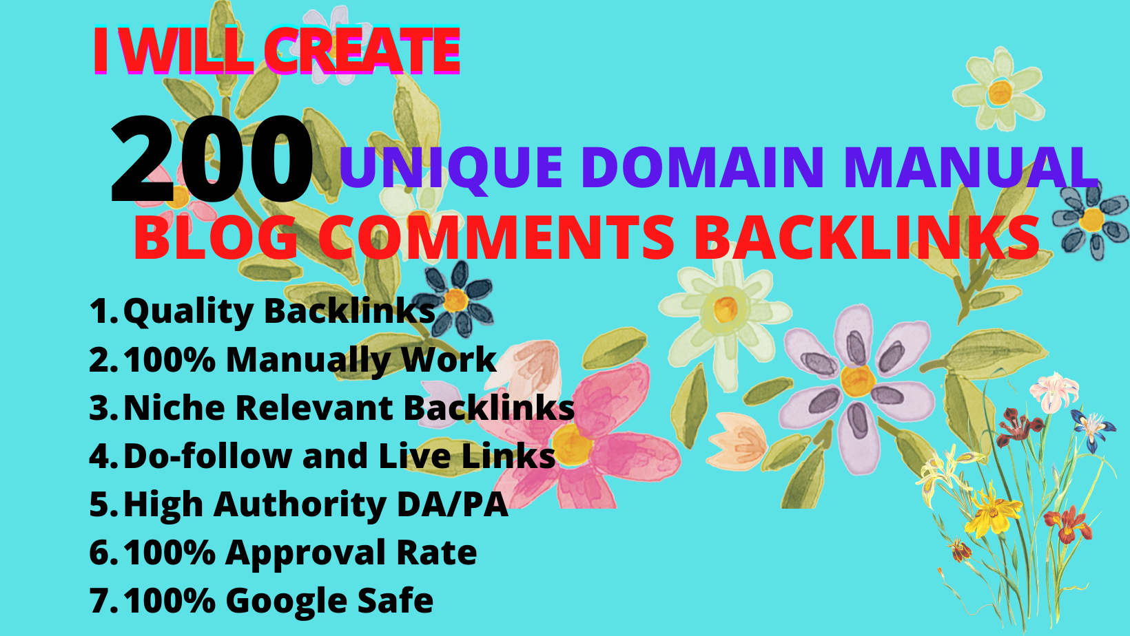 Create 50 Niche related manual unique domain do follow blog comment and authority backlinks
