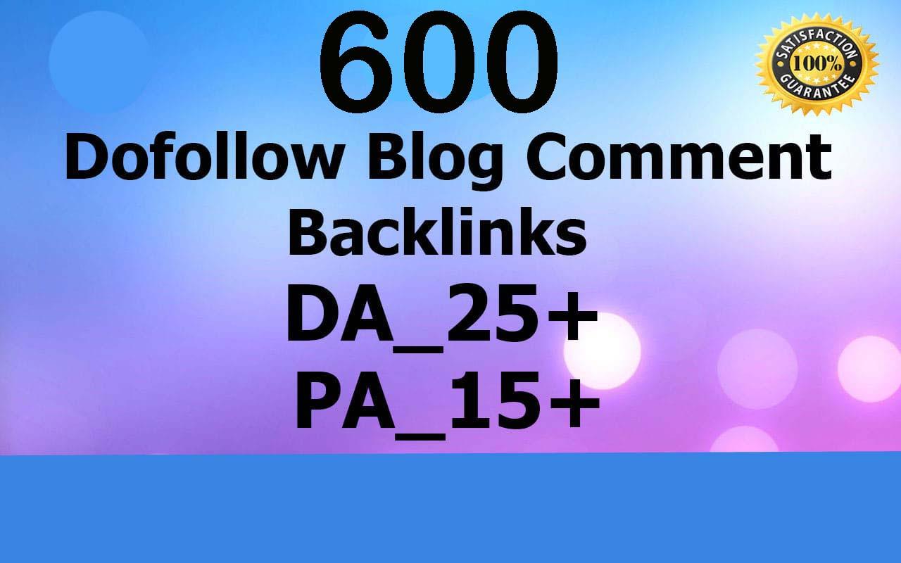I will provide 600 dofollow blog comment backlinks high da pa