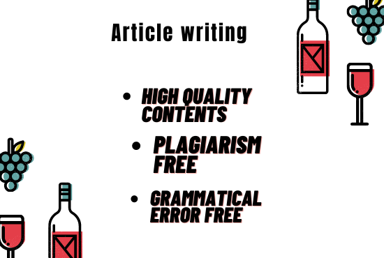 I will write SEO friendly article for any kind of products.