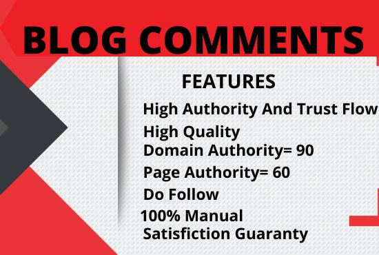 I will create 50 Manually high quality Do follow Blog comments SEO backlinks