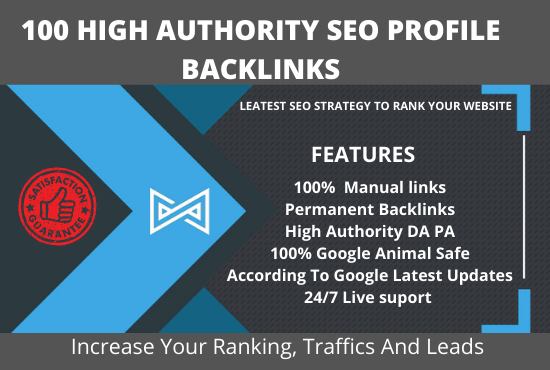 I will create 100 high DA PA SEO profile backlinks for your website