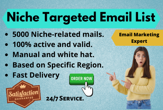 I will 5k niche targeted email collection & email marketing for your business