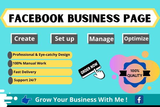 Create a Facebook business page,  set up,  manage,  attractive design & optimize it fully professionall