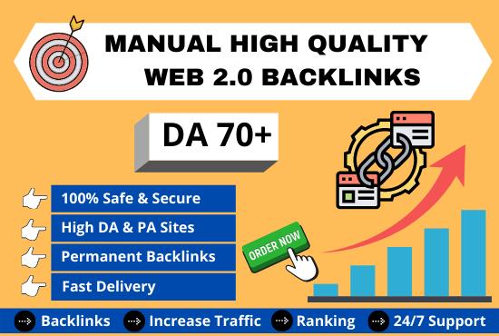 I will do manual high quality web 2.0 backlinks service.