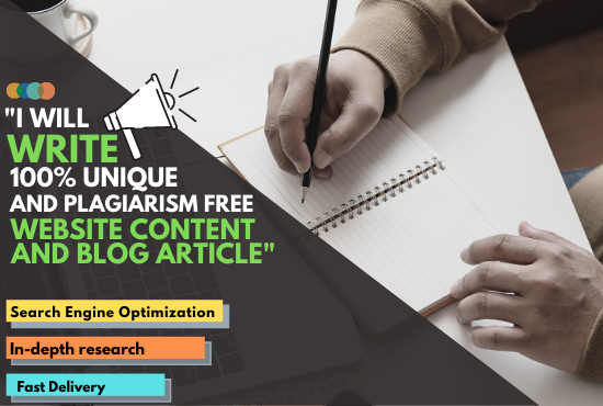 I will write 1200 words genuine SEO article writing,  blog post and website content