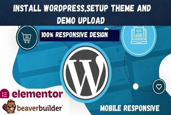 install the WordPress website setup theme and demo upload