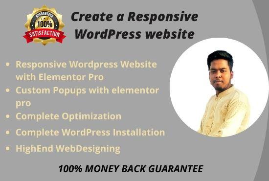 I will create responsive wordpress website or wordpress design