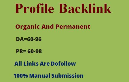 20 profile backlink on high authority sites as link building in off page seo Manually