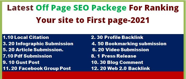 Manually link building or off page seo Backlink Package to Improve Your Website Ranking in 1 page