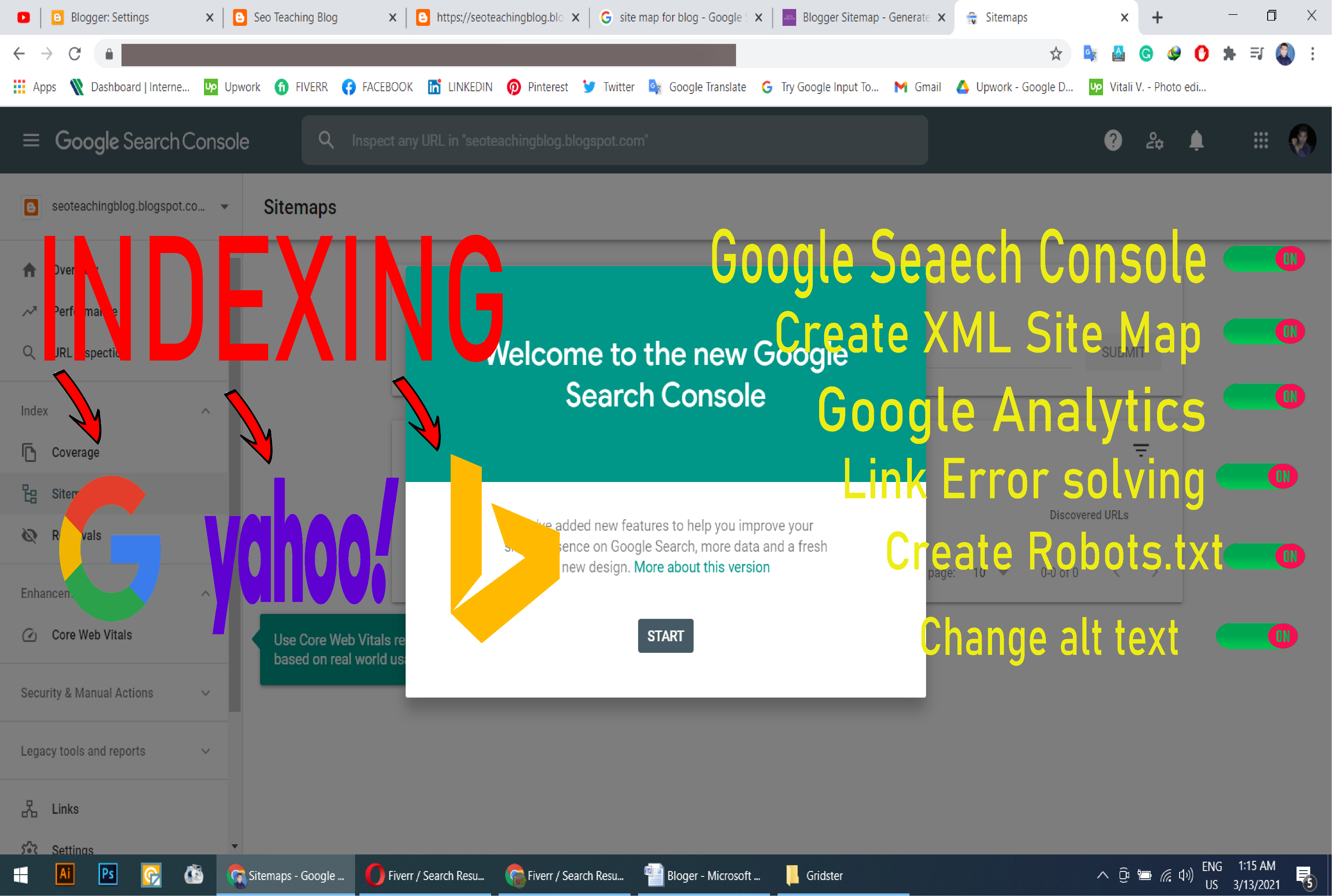 I will index your URL,  XML sitemap creation,  and search console all error fix