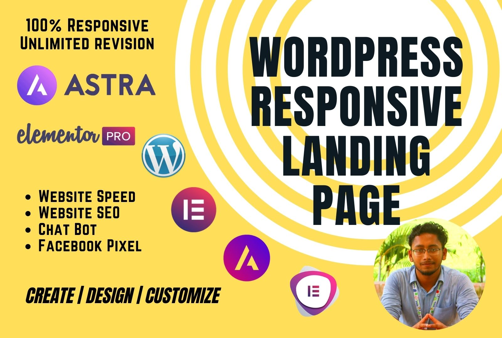 I will create responsive landing page by WordPress Elementor pro