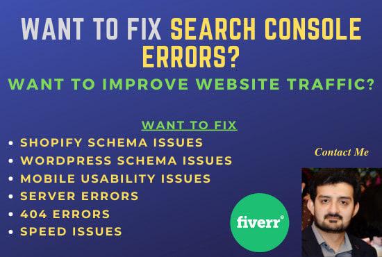 I will fix index coverage errors in google search console 48h