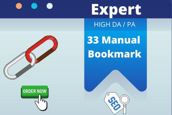 I will do 33 social bookmarking on high PR backlinks 24h