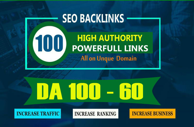 I will build 100 unique domain SEO backlinks on tf100 da100 sites