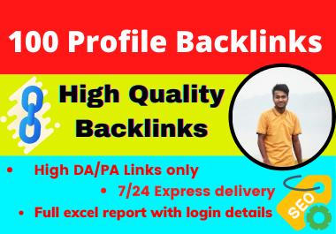 100 Profile Backlinks high DA SEO dofollow Backlinks