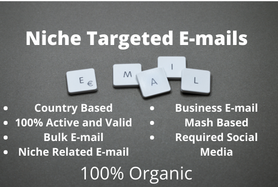 I will provide 5K Niche required active & clean Bulk Email list building and Lead Generation