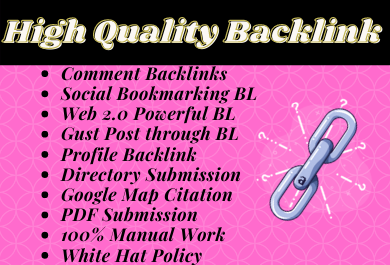 High Quality backlink Service Create for 20 links