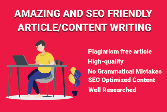 write amazing and SEO friendly article/content writing for your website,  blog