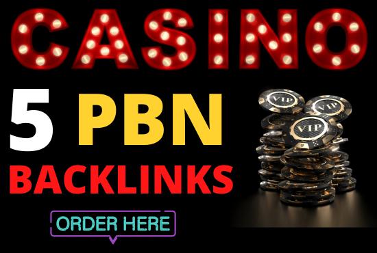 I will provide 10 casino gambling poker betting pbn backlinks for ranking