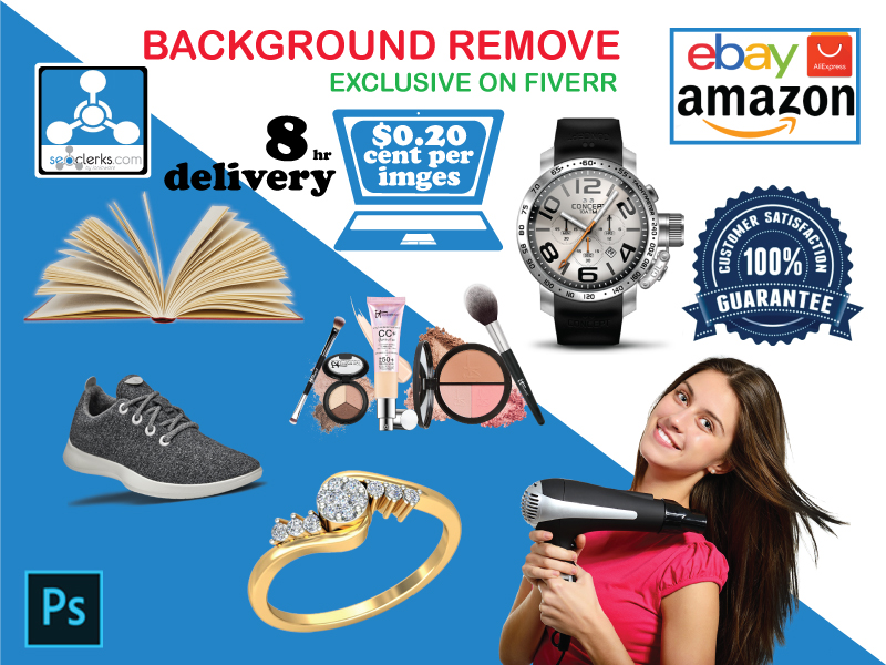 Background remove/clipping path on any products and person.