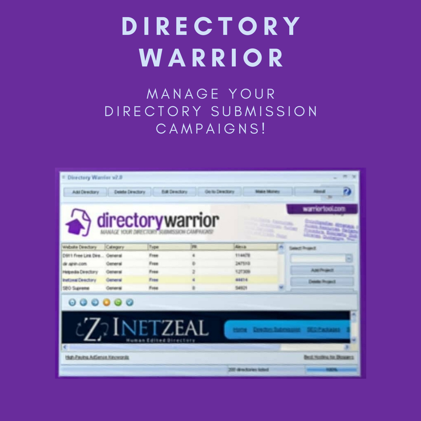 Directory Warrior software for managing directory campaign