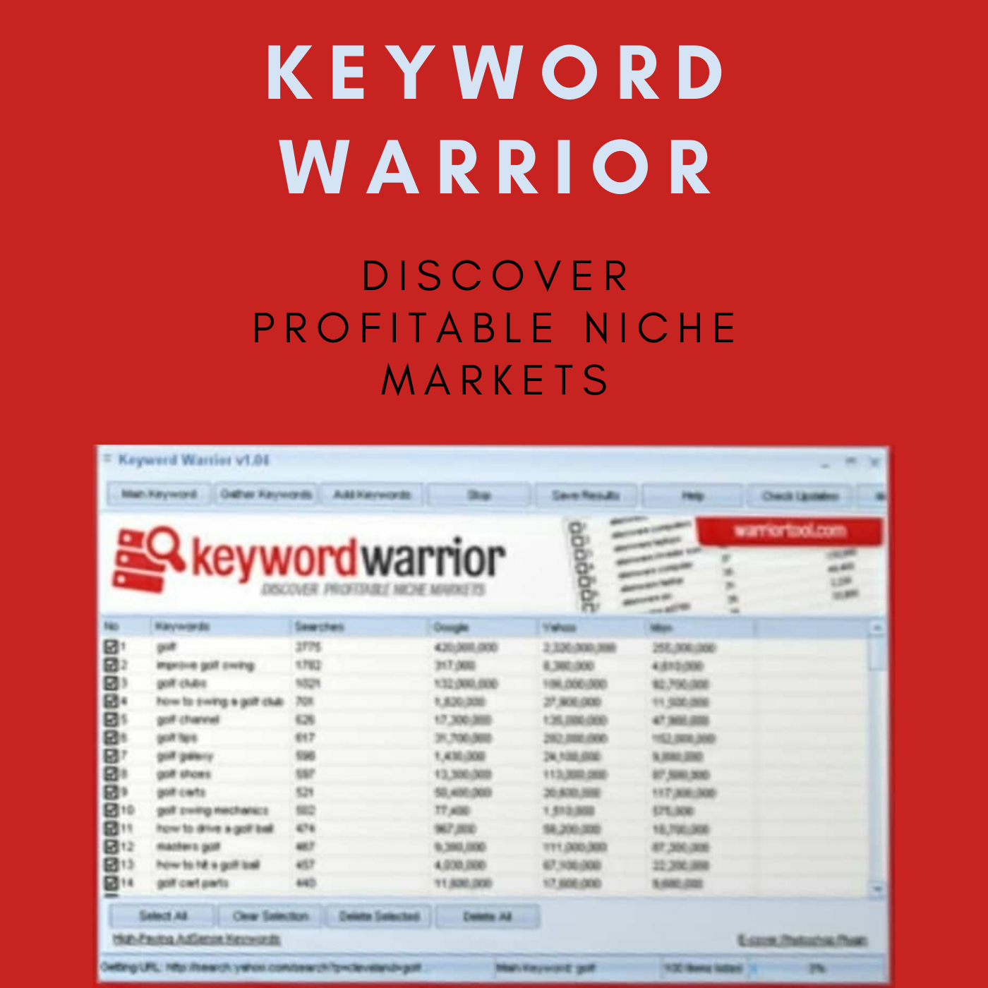 Keyword Warrior for discovering Profitable Niche Markets