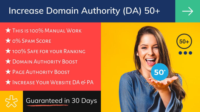 I will increase domain authority 50 da to your site